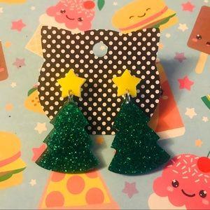 Jewelry - Large Christmas tree earrings